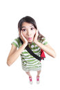 Surprised student girl funny face Stock Photo