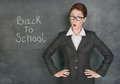 Surprised teacher on the school blackboard background with phrase back to school Royalty Free Stock Image