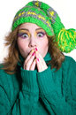 Surprised winter girl Royalty Free Stock Photography