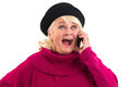 Surprised woman with cellphone. Royalty Free Stock Photo