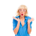 Surprised woman with fake eyes gesturing Royalty Free Stock Photography
