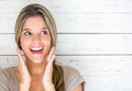Surprised woman portrait of a happy looking very Royalty Free Stock Images