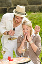 Surprised woman receiving wedding ring sunny Royalty Free Stock Images