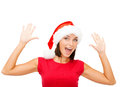 Surprised woman in santa helper hat christmas x mas winter happiness concept Royalty Free Stock Photo