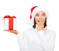 Surprised woman in santa helper hat with gift box christmas x mas winter happiness concept Royalty Free Stock Photo