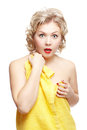 Surprised woman in towel Royalty Free Stock Photography