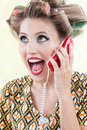 Surprised woman using telephone portrait of funny Royalty Free Stock Photos