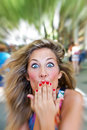 Surprised woman young blond with face Royalty Free Stock Photography