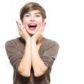 Surprised woman young excited beauty with short hairstyle Royalty Free Stock Photos