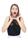 Surprised young beautiful teenage girl isolated Royalty Free Stock Photo