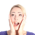 Surprised Young Blonde Woman on White Royalty Free Stock Photos