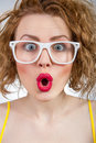 Surprised young funny woman girl wearing spectacles Stock Photos