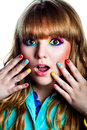 Surprised young girl with colorfull make up beautiful woman rainbow eye Stock Image