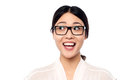 Surprised young girl in eyeglasses looking away pretty asian excitement wearing spectacles Royalty Free Stock Photos
