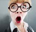 Surprised young pretty businesswoman woman. Royalty Free Stock Photo