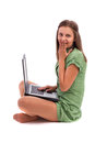 Surprised young woman sitting on floor with a laptop Royalty Free Stock Photo