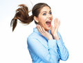 Surprising business woman portrait  on white Royalty Free Stock Photo