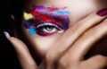 Surreal beauty close up shot of young woman she is hiding part of her face with her palm only to show one eye multicolor make up Royalty Free Stock Photography