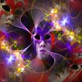 Surreal carnival mask and fractal pattern Royalty Free Stock Photo