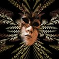 Surreal carnival mask and fractal pattern of the leaves as diver Royalty Free Stock Photo