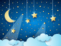 Surreal cloudscape by night with moon and hanging stars Royalty Free Stock Photo