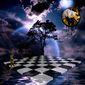 Surreal composition with chessboard leaping figure and burning melting clock Royalty Free Stock Images