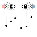 Surreal illustration, eyes, stars Royalty Free Stock Photo