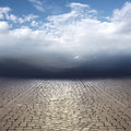 Surreal landscape beautiful abstract cobblestones and cloudy sky Stock Photography