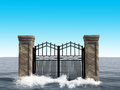 Surreal ocean gate background illustration an iron opens a door to nowhere at it sits in a sea or the scene creates metaphors for Stock Photo
