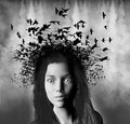 Surreal Woman, Birds Hair Illustration Royalty Free Stock Photo