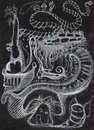 Surreal world drawing abstract sketch over white background pencil on paper urban philosophic theme Stock Image