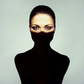 Surrealist art portrait young lady shadow her body Stock Image