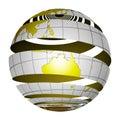 Surrealistic peeling globe Earth 3D
