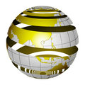 Surrealistic peeling globe Earth 3D Royalty Free Stock Image