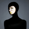 Surrealistic young lady with shadow on her body surrealist portrait of art makeup Stock Image