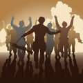 Surrender editable vector illustration of a troop of defeated soldiers surrendering Royalty Free Stock Image