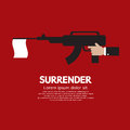 Surrender a gun with white flag vector illustration Stock Photo