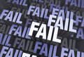 Surrounded by failure a d blue gray background filled with the word fail repeated many times a different depths Royalty Free Stock Photos