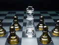Surrounded the games over a white chess king by enemy Royalty Free Stock Image