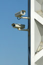 Surveillance camera two cameras on lamppost Royalty Free Stock Image