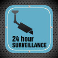 Surveillance plate blue with the text twenty four hour Stock Image