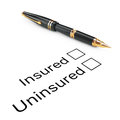 Survey Concept. Insured or Uninsured Checklist with Golden Fount