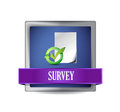 Survey glossy blue button illustration design over white Royalty Free Stock Photos