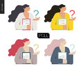 Survey icon in four colors. Royalty Free Stock Photo
