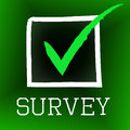 Survey Tick Indicates Poll Checked And Questionnaire