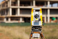Surveyor equipment tacheometer or theodolite at construction site Stock Photo