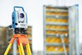Surveyor equipment theodolie outdoors Stock Photography