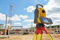 Surveyor equipment theodolie outdoors theodolite at construction site Royalty Free Stock Photo