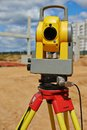 Surveyor equipment theodolie outdoors theodolite at construction site Stock Images