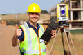 Surveyor thumb up senior giving on construction site Stock Photo